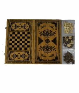 Игра 3 в 1 (нарды, шахматы, шашки) 60 х 30 см из бамбука. 6030В
