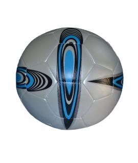 Мяч футбольный  из кожзаменителя, белый с синим. FT9-7