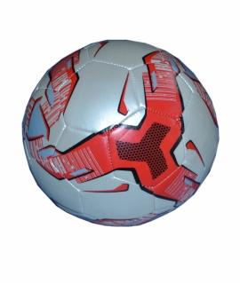Мяч футбольный из кожзаменителя, белый с красным. FT9-12