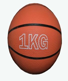 Мяч для атлетических упражнений (медбол) - 1 кг из плотной резины, коричневый.