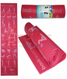 Коврик для йоги и фитнеса.Цвет:малиновый.Р-р:173*61*0,5см.RW-6М