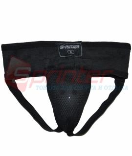 Тренировочная раковина из хлопка с эластиком(сетка) и пластиковой вставкой XS . Цвет:чёрный