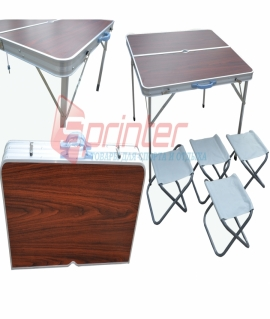 Набор мебели: стол + 4 стула (86х80,5х69 см) из алюминия и пластика. YJCZ-14