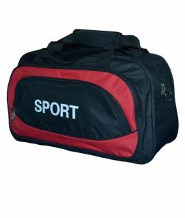 """Сумка спортивная """"SPORT"""" из полиэстера. 16х27х42 см. Чёрный с красным. 993-43"""