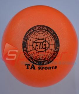 """Мяч для художественной гимнастики """"TA sport T-12"""" - 15 см. Оранжевый с блестками"""