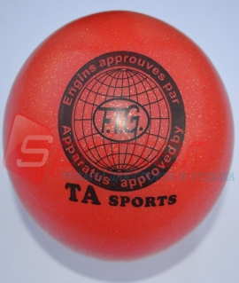 """Мяч для художественной гимнастики """"TA sport T-12"""" - 15 см. Красный с блестками"""