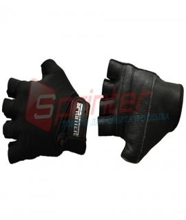 Перчатки без пальцев, эластик+кожа. Цвет: Чёрный. Размер: L
