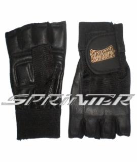 Перчатки для тяжёлой атлетики с напульсником из кожи и ткани. Размер: XL. Пакистан. Чёрный