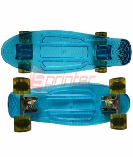 Скейт Penny из качественной пластмассы. Колеса: PU(60 мм). 56*15 см. Прозрачно-красный/розовый/синий/зелёный. 2106