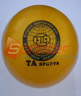 """Мяч для художественной гимнастики """"TA sport T-12"""" - 15 см. Жёлтый с блестками"""