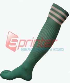 Гетры футбольные взрослые зелёные с полосками B-150