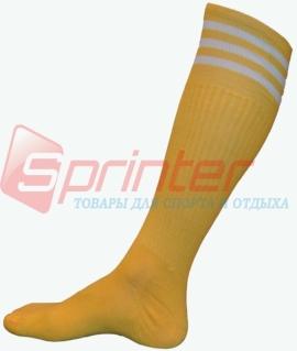 Гетры футбольные взрослые жёлтые с полосками B-150