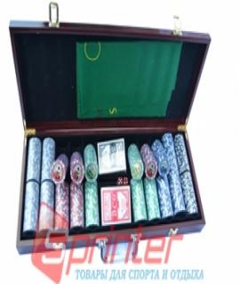 Набор для покера из 500 пластиковых фишек с номиналом в деревянном кейсе