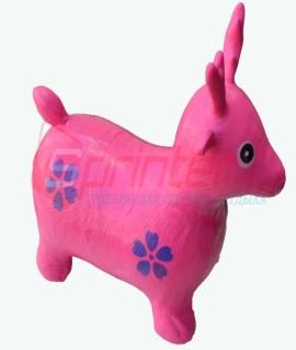 """Надувная игрушка-попрыгунчик """"Олень"""" из ПВХ. Высота 50 см. Вес: 1,3 кг. Розовый. YJ-DW3"""