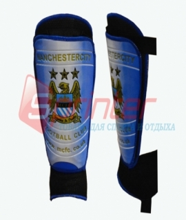 """Щитки футбольные """"Manchester City"""" с защитой голеностопа, взрослые. 2013"""