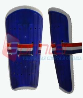 Щитки футбольные для юношей из пластика с широкой резинкой. Синие. 844-3L