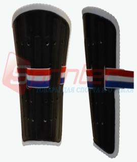 Щитки футбольные для юношей из пластика с широкой резинкой. Чёрные. 844-3L