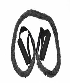 Эспандер для фитнеса из латекса и тканевой защитой в виде рукава, чёрный. Ручки 150 см. 9 кг WX-55