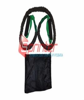 Эспандер для фитнеса из латекса с ручками, чёрный с зелёным. 150 см - 15LB. WX-77