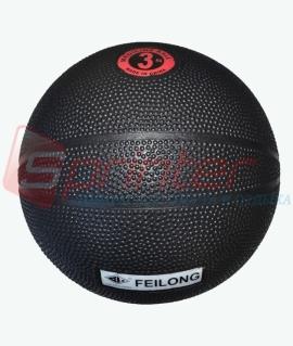 """Мяч для атлетических упражнений """"Feilong"""" (медбол) - 3 кг. чёрный."""