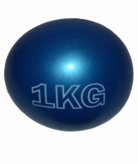 Мяч для атлетических упражнений (медбол) - 1 кг из силикона синий.