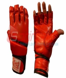 Перчатки для рукопашного боя из кожи с манжетами на липучке - L. Красные. 58-69