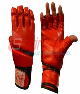 Перчатки для рукопашного боя из кожи с манжетами на липучке - M. Красные. 58-69