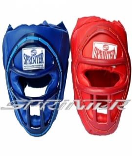 """Шлем закрытый боксерский с маской """"SPRINTER"""" из кожзама. Цвета: Красный,синий."""
