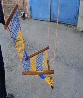 "Гамак ""ЛИАНА"" - сидячий плетёный Размер: 100х0,6 см,шнур: 3 мм. Украина"