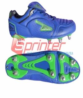 """Бутсы футбольные с шипами (металлические) """"SPRINTER"""" из PVC и резины. Размер: 35.  Синий с зелёными вставки. AX1716"""
