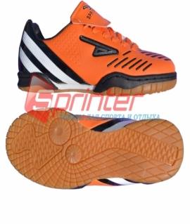 """Бутсы для зала """"Sprinter"""" из PVC и резины, оранжевые с чёрными вставками. Размер: 35. AX7220"""