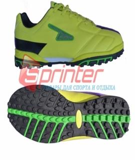"""Бутсы сороконожки """"Sprinter"""" из PVC и резины. Размер: 35. Ярко жёлтый с чёрным. АХ2363"""