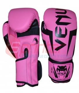 """Перчатки боксёрские PU на липучке """"VENUM"""".Размер-вес:6.Цвет: розовый."""