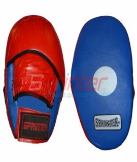 """Лапа прямая боксерская  """"Sprinter"""" из искусственной кожи сине-красная."""